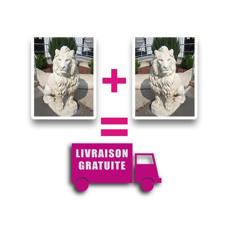 2 Lions en statue de pierre (Livraison incluse)