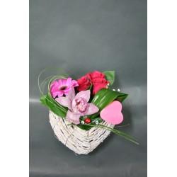 Coeur en osier fleuri promofleur montataire