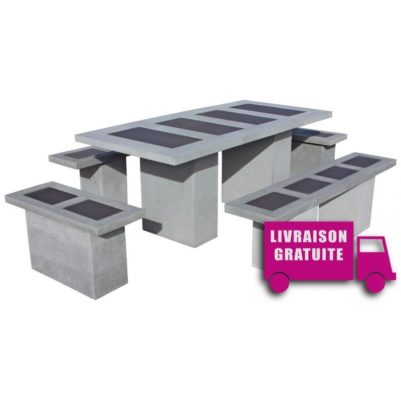 salon de jardin en pierre livinston vulcan cemento couleur. Black Bedroom Furniture Sets. Home Design Ideas