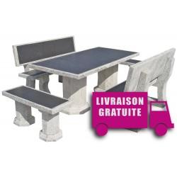 Salon de jardin en pierre RAGAZZO Vulcan gris