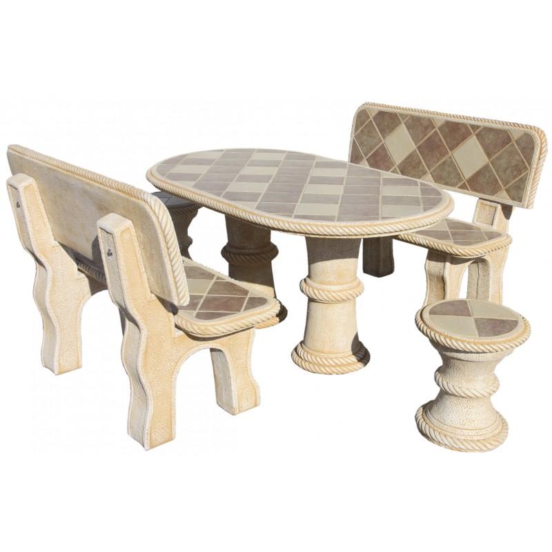 salon de jardin en pierre mini olmo gres ocre. Black Bedroom Furniture Sets. Home Design Ideas