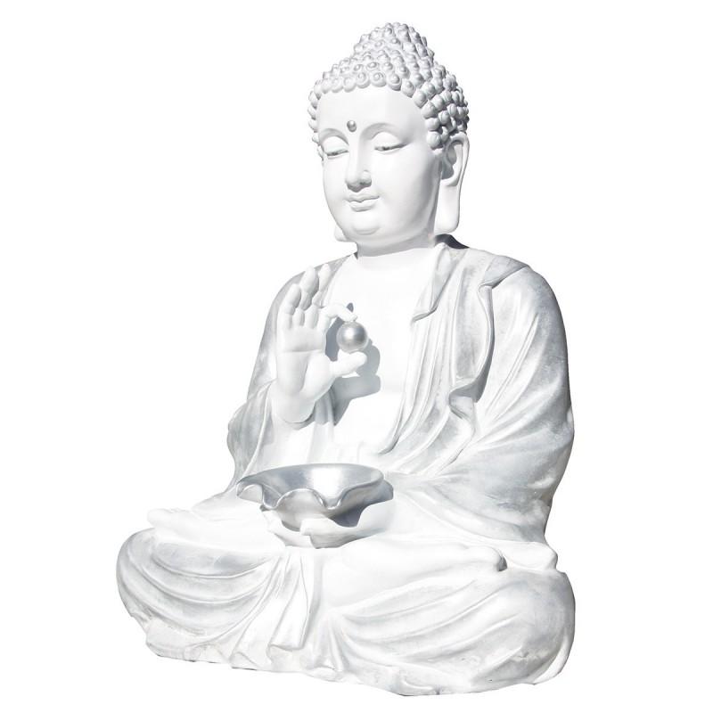 Statue de pierre Bouddha h.80 cm Perle