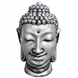 Statue de pierre Tête de Bouddha Argent h.115 cm