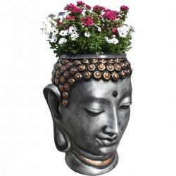 Statue de pierre Tête de Bouddha Policromado h.93 cm (Pot de fleur 30 L inclus)