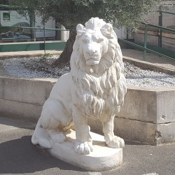 Lion en pierre reconstituée (regard à droite)