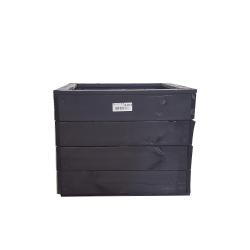 Bac carré en bois couleur noir - Promofleur