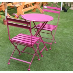 Salon de jardin en métal rose