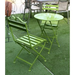 Salon de jardin en métal vert anis